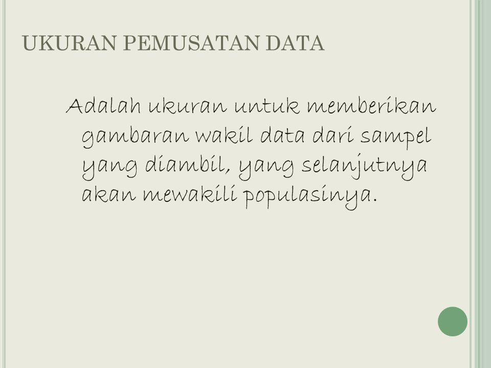 UKURAN PEMUSATAN DATA Adalah ukuran untuk memberikan gambaran wakil data dari sampel yang diambil, yang selanjutnya akan mewakili populasinya.