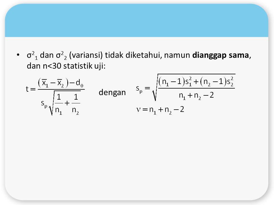 σ 2 1 dan σ 2 2 (variansi) tidak diketahui, namun dianggap sama, dan n<30 statistik uji: dengan