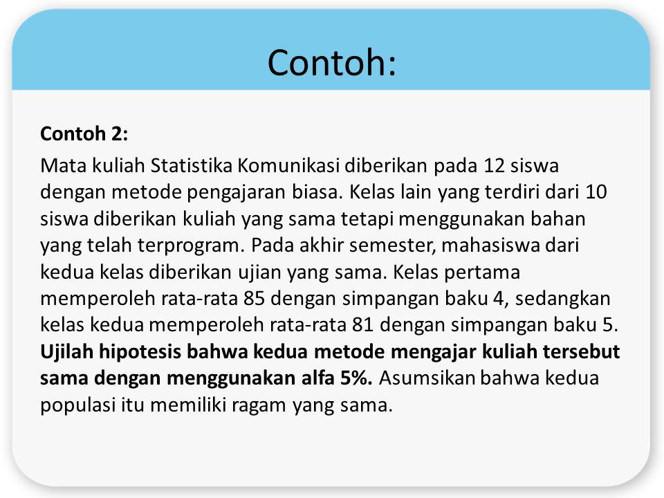 Contoh: Contoh 2: Mata kuliah Statistika Komunikasi diberikan pada 12 siswa dengan metode pengajaran biasa. Kelas lain yang terdiri dari 10 siswa dibe