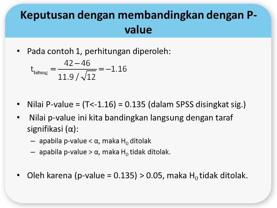 Keputusan dengan membandingkan dengan P- value Pada contoh 1, perhitungan diperoleh: Nilai P-value = (T<-1.16) = 0.135 (dalam SPSS disingkat sig.) Nil