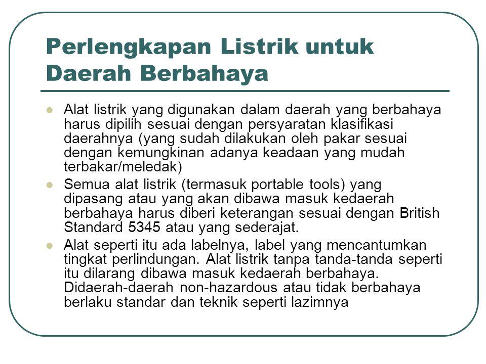 Perlengkapan Listrik untuk Daerah Berbahaya Alat listrik yang digunakan dalam daerah yang berbahaya harus dipilih sesuai dengan persyaratan klasifikas