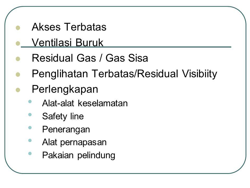 Akses Terbatas Ventilasi Buruk Residual Gas / Gas Sisa Penglihatan Terbatas/Residual Visibiity Perlengkapan Alat-alat keselamatan Safety line Penerang