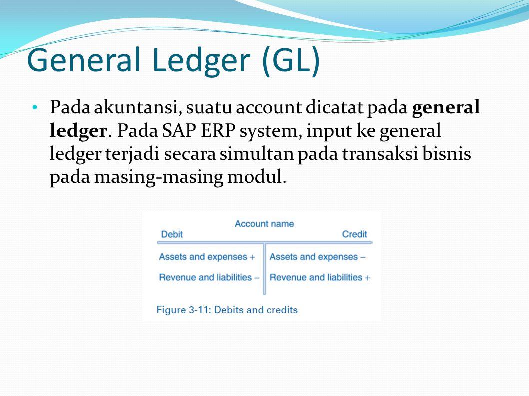 General Ledger (GL) Pada akuntansi, suatu account dicatat pada general ledger. Pada SAP ERP system, input ke general ledger terjadi secara simultan pa