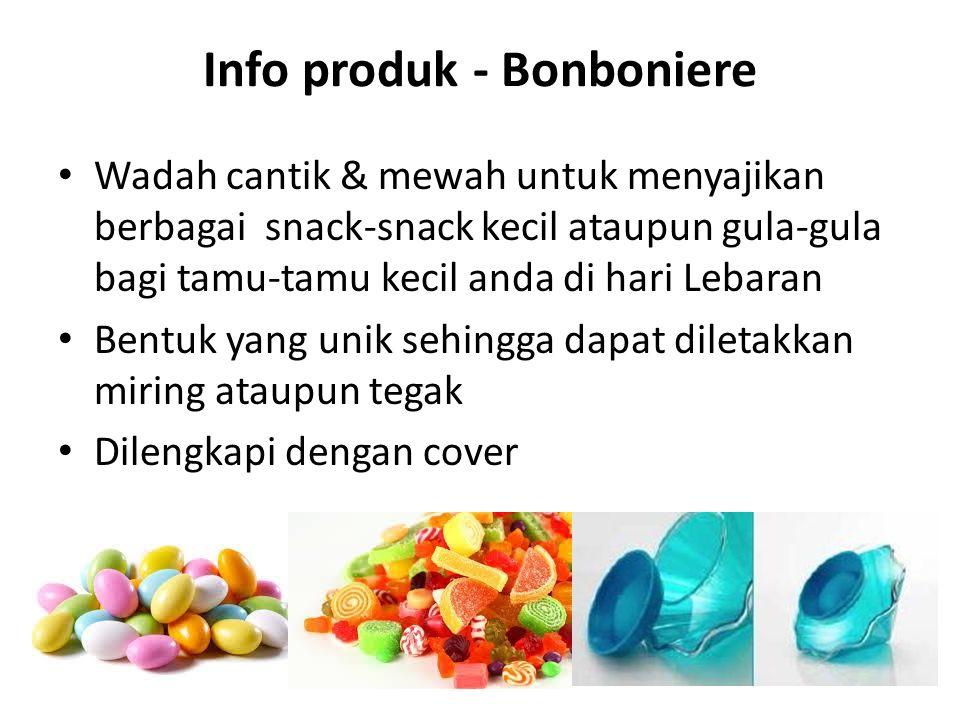 Info produk - Bonboniere Wadah cantik & mewah untuk menyajikan berbagai snack-snack kecil ataupun gula-gula bagi tamu-tamu kecil anda di hari Lebaran Bentuk yang unik sehingga dapat diletakkan miring ataupun tegak Dilengkapi dengan cover