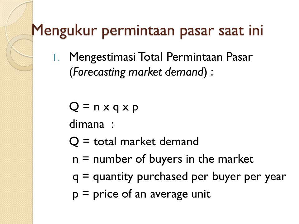 Mengukur permintaan pasar saat ini 1. Mengestimasi Total Permintaan Pasar (Forecasting market demand) : Q = n x q x p dimana : Q = total market demand