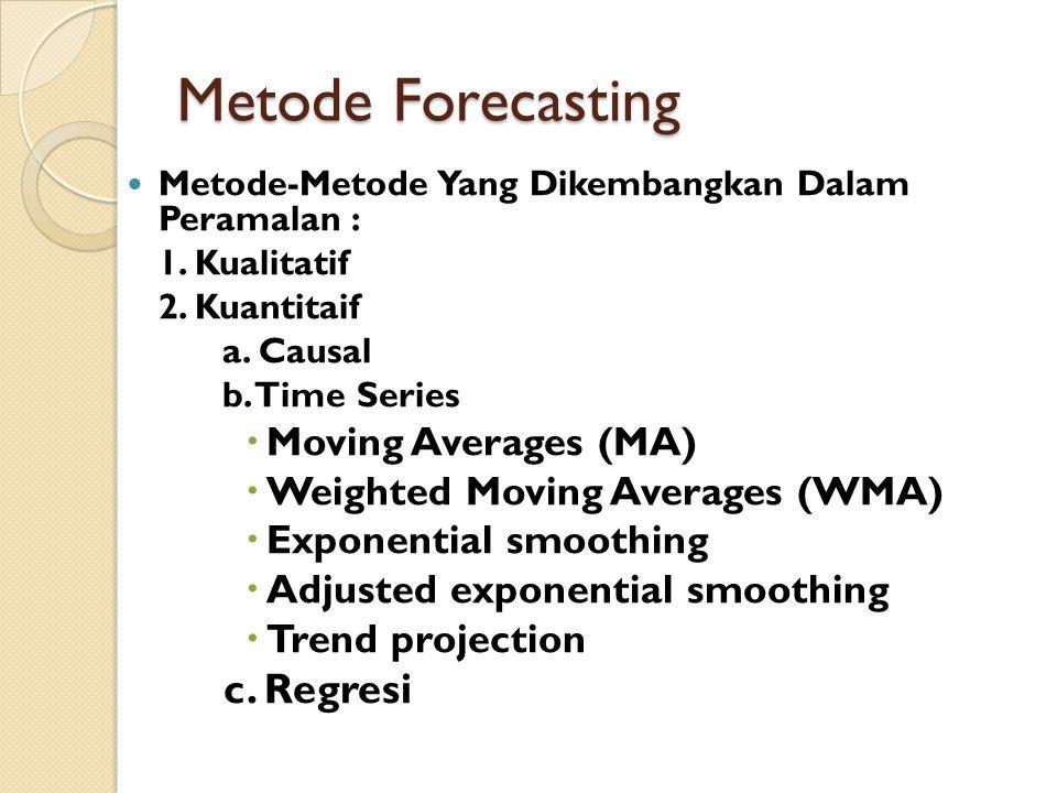 Metode Forecasting Metode-Metode Yang Dikembangkan Dalam Peramalan : 1. Kualitatif 2. Kuantitaif a. Causal b. Time Series  Moving Averages (MA)  Wei