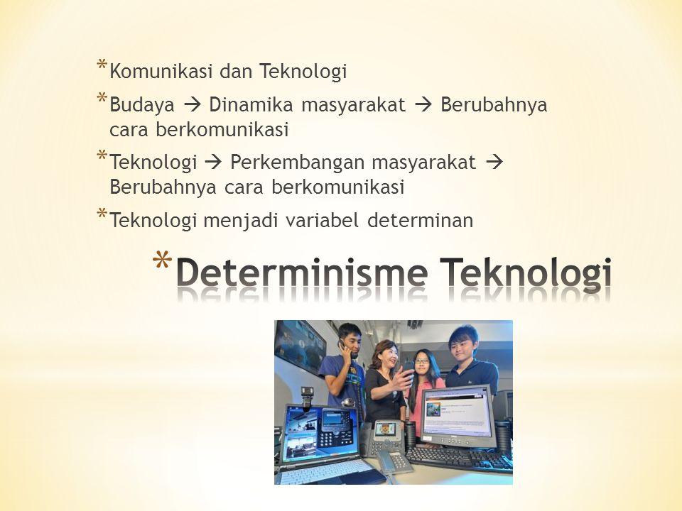 * Komunikasi dan Teknologi * Budaya  Dinamika masyarakat  Berubahnya cara berkomunikasi * Teknologi  Perkembangan masyarakat  Berubahnya cara berkomunikasi * Teknologi menjadi variabel determinan