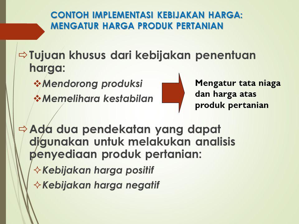 CONTOH IMPLEMENTASI KEBIJAKAN HARGA: MENGATUR HARGA PRODUK PERTANIAN  Tujuan khusus dari kebijakan penentuan harga:  Mendorong produksi  Memelihara