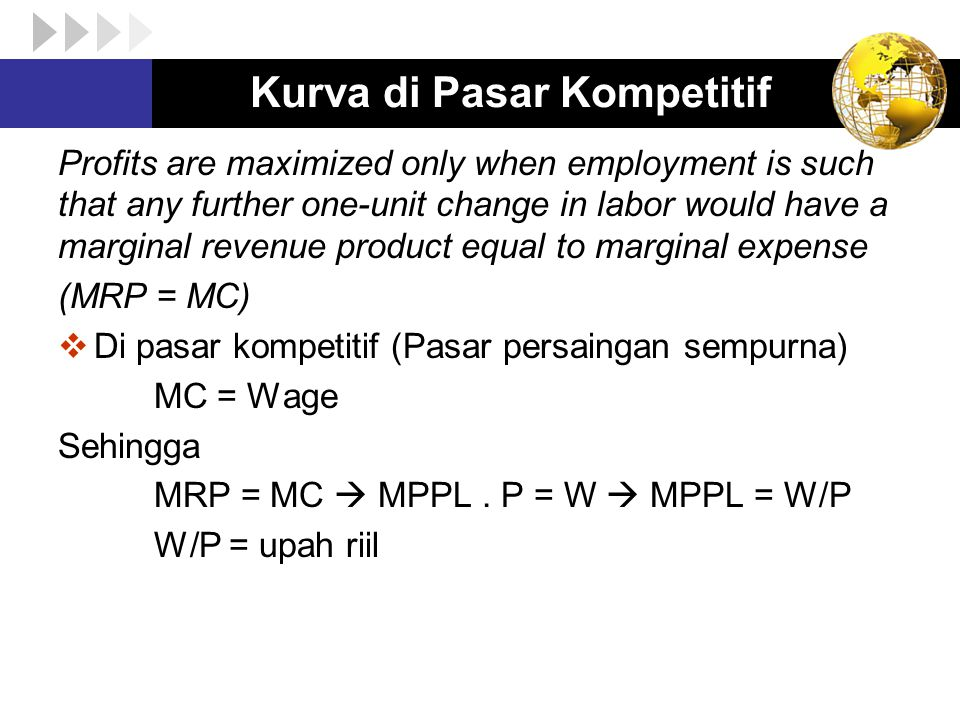 Kurva di Pasar Kompetitif Profits are maximized only when employment is such that any further one-unit change in labor would have a marginal revenue product equal to marginal expense (MRP = MC)  Di pasar kompetitif (Pasar persaingan sempurna) MC = Wage Sehingga MRP = MC  MPPL.