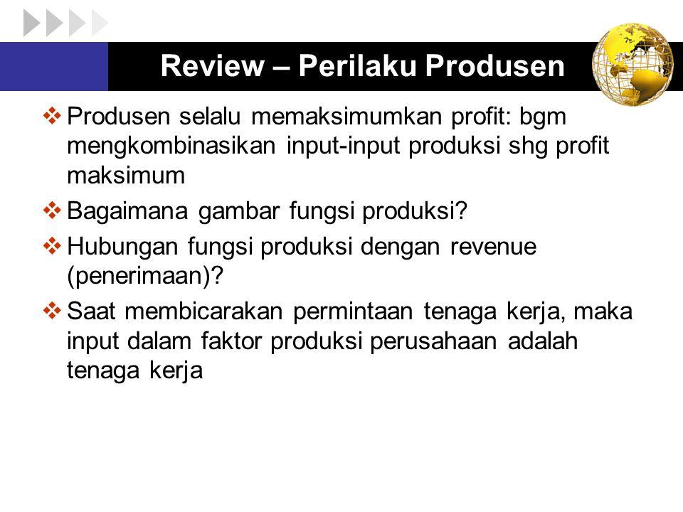 FUNGSI PRODUKSI (Produsen)  Menjelaskan faktor-faktor yang digunakan perusahaan untuk memproduksi sejumlah barang/jasa q = f (E,K) dimana: q = produksi E = jumlah jam kerja (atau jumlah TK) yang disewa oleh perusahaan K = kapital: yang mencakup stock of land, machine, dll