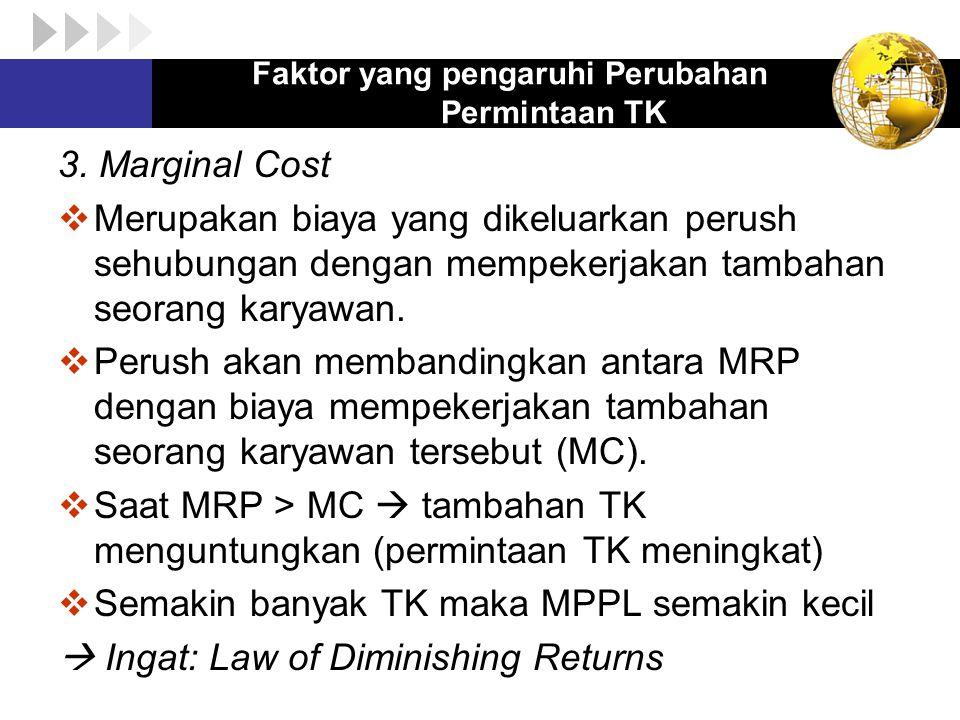 3. Marginal Cost  Merupakan biaya yang dikeluarkan perush sehubungan dengan mempekerjakan tambahan seorang karyawan.  Perush akan membandingkan anta
