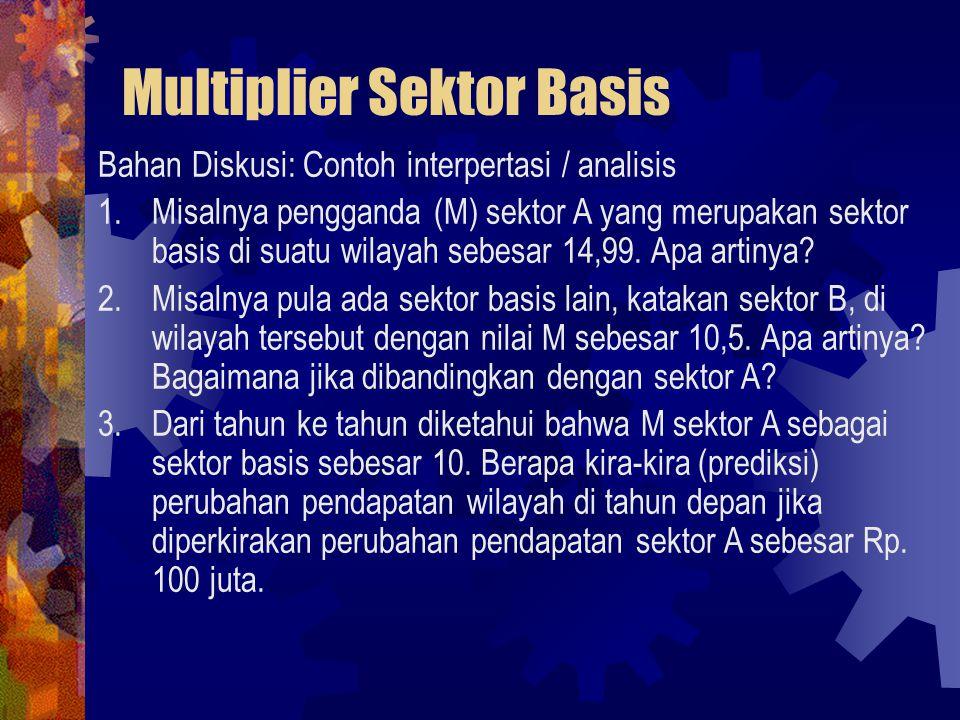 Multiplier Sektor Basis Bahan Diskusi: Contoh interpertasi / analisis 1.Misalnya pengganda (M) sektor A yang merupakan sektor basis di suatu wilayah sebesar 14,99.