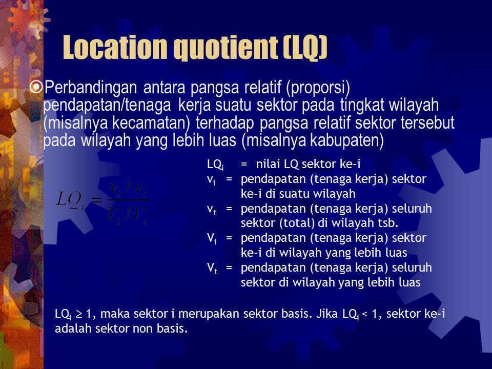 Location quotient (LQ)  Perbandingan antara pangsa relatif (proporsi) pendapatan/tenaga kerja suatu sektor pada tingkat wilayah (misalnya kecamatan) terhadap pangsa relatif sektor tersebut pada wilayah yang lebih luas (misalnya kabupaten) LQ i =nilai LQ sektor ke-i v i = pendapatan (tenaga kerja) sektor ke-i di suatu wilayah v t =pendapatan (tenaga kerja) seluruh sektor (total) di wilayah tsb.