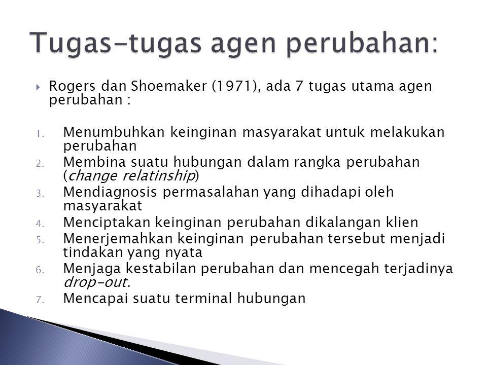  Rogers dan Shoemaker (1971), ada 7 tugas utama agen perubahan : 1.