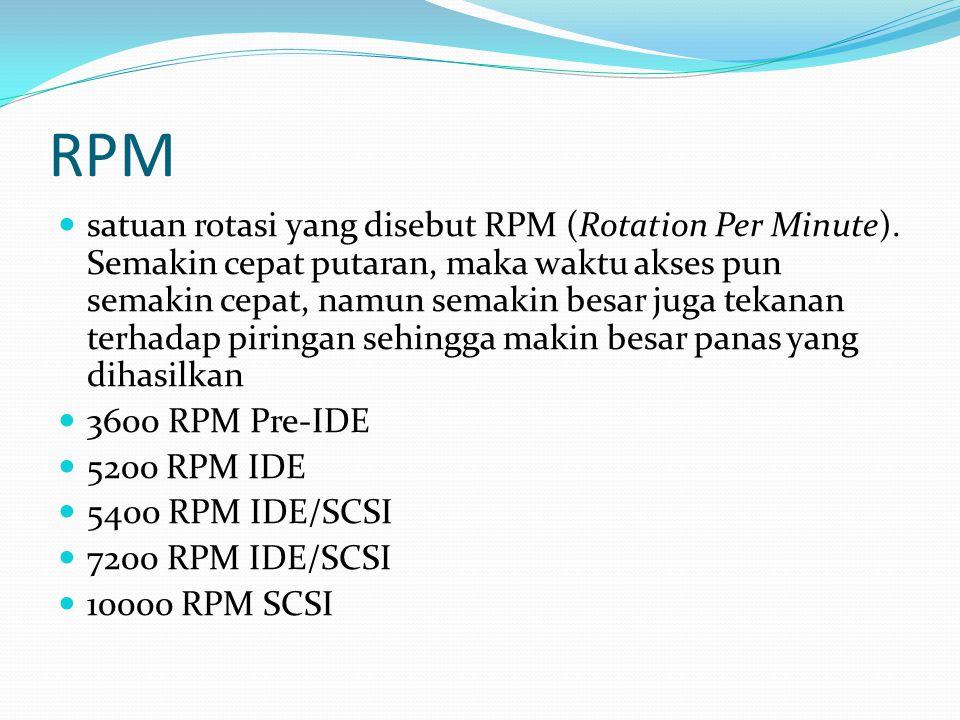 RPM satuan rotasi yang disebut RPM (Rotation Per Minute). Semakin cepat putaran, maka waktu akses pun semakin cepat, namun semakin besar juga tekanan
