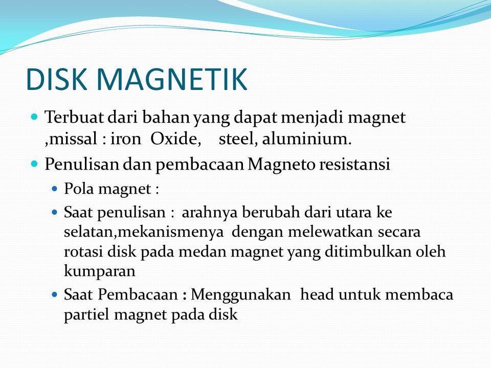 DISK MAGNETIK Terbuat dari bahan yang dapat menjadi magnet,missal : iron Oxide, steel, aluminium. Penulisan dan pembacaan Magneto resistansi Pola magn