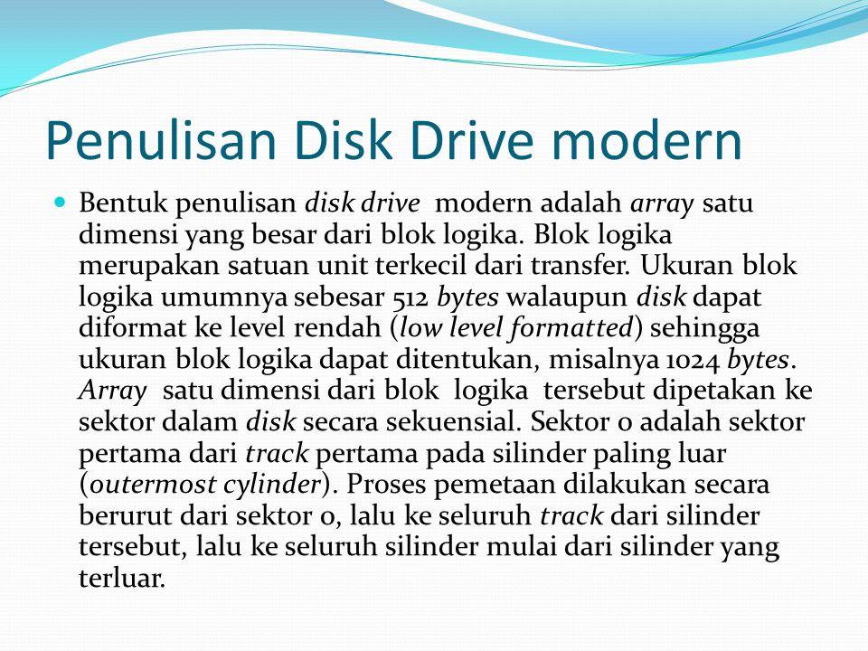 Penulisan Disk Drive modern Bentuk penulisan disk drive modern adalah array satu dimensi yang besar dari blok logika. Blok logika merupakan satuan uni