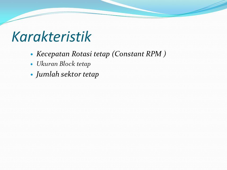 Karakteristik Kecepatan Rotasi tetap (Constant RPM ) Ukuran Block tetap Jumlah sektor tetap