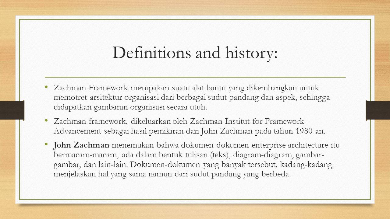 Definitions and history: Zachman Framework merupakan suatu alat bantu yang dikembangkan untuk memotret arsitektur organisasi dari berbagai sudut pandang dan aspek, sehingga didapatkan gambaran organisasi secara utuh.