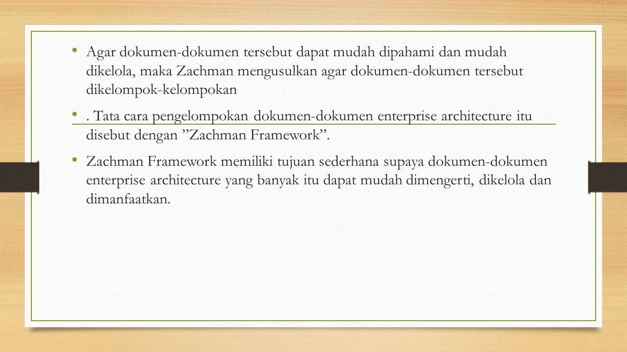 Agar dokumen-dokumen tersebut dapat mudah dipahami dan mudah dikelola, maka Zachman mengusulkan agar dokumen-dokumen tersebut dikelompok-kelompokan. T