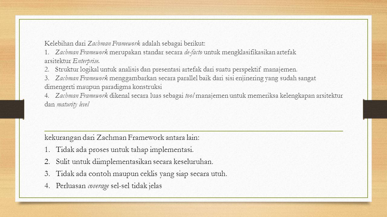 Kelebihan dari Zachman Framework adalah sebagai berikut: 1. Zachman Framework merupakan standar secara de-facto untuk mengklasifikasikan artefak arsit