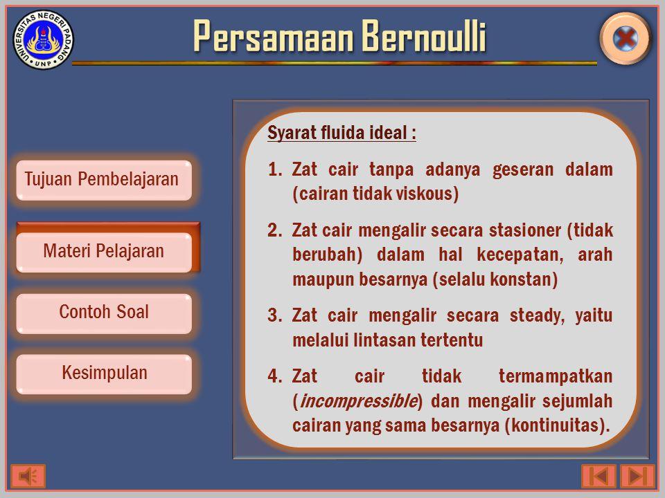 Persamaan Bernoulli Contoh Soal Kesimpulan Tujuan Pembelajaran Materi Pelajaran Tahu kah kamu?.