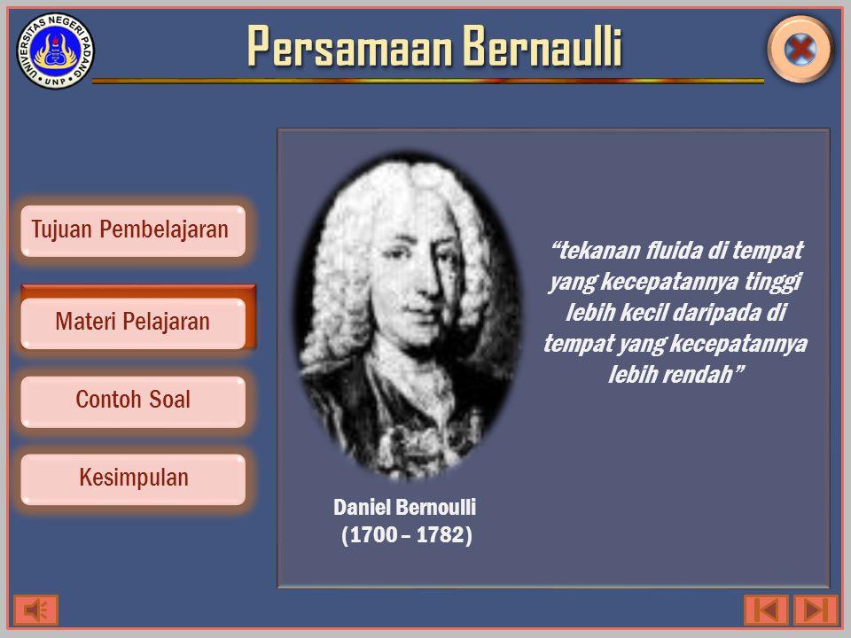 Persamaan Bernoulli Contoh Soal Kesimpulan Tujuan Pembelajaran Materi Pelajaran Syarat fluida ideal : 1.Zat cair tanpa adanya geseran dalam (cairan tidak viskous) 2.Zat cair mengalir secara stasioner (tidak berubah) dalam hal kecepatan, arah maupun besarnya (selalu konstan) 3.Zat cair mengalir secara steady, yaitu melalui lintasan tertentu 4.Zat cair tidak termampatkan (incompressible) dan mengalir sejumlah cairan yang sama besarnya (kontinuitas).