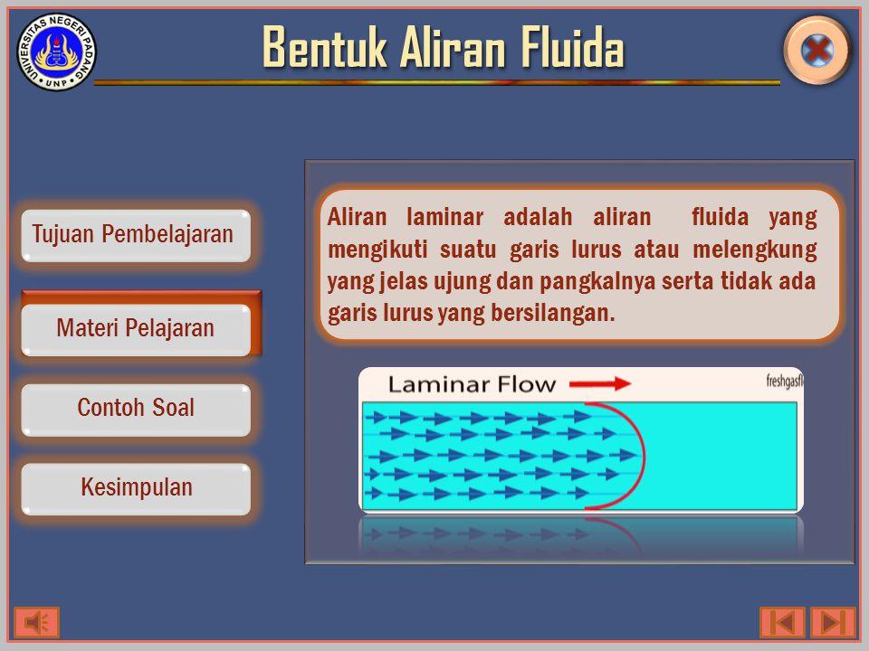 Bentuk Aliran Fluida Contoh Soal Kesimpulan Tujuan Pembelajaran Materi Pelajaran Aliran laminar adalah aliran fluida yang mengikuti suatu garis lurus atau melengkung yang jelas ujung dan pangkalnya serta tidak ada garis lurus yang bersilangan.
