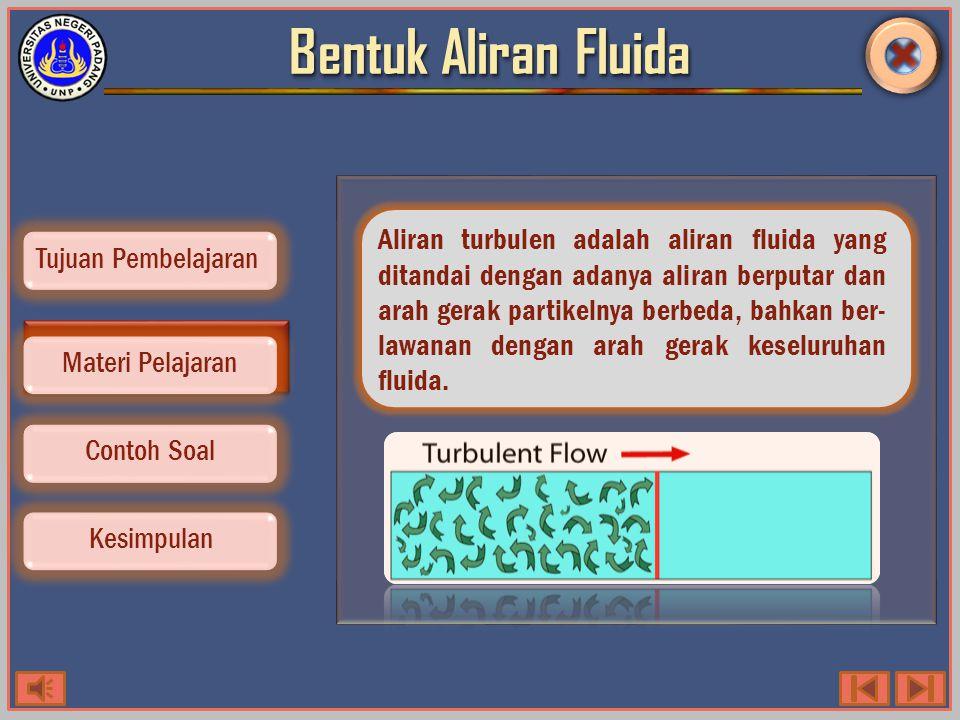 Bentuk Aliran Fluida Contoh Soal Kesimpulan Tujuan Pembelajaran Materi Pelajaran Aliran turbulen adalah aliran fluida yang ditandai dengan adanya aliran berputar dan arah gerak partikelnya berbeda, bahkan ber- lawanan dengan arah gerak keseluruhan fluida.
