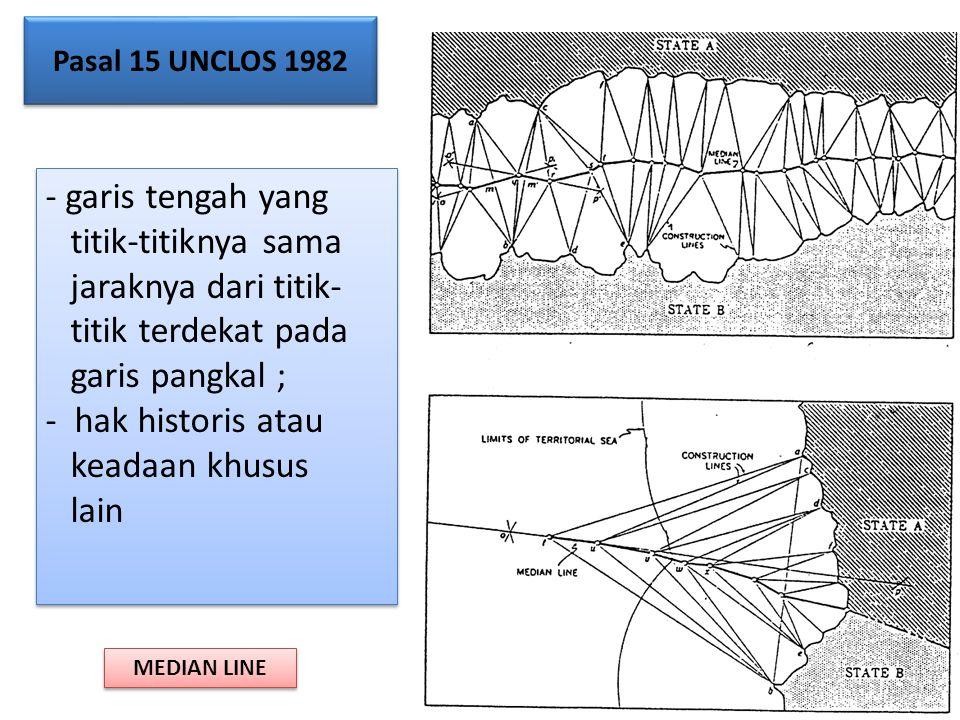 - garis tengah yang titik-titiknya sama jaraknya dari titik- titik terdekat pada garis pangkal ; - hak historis atau keadaan khusus lain - garis tenga