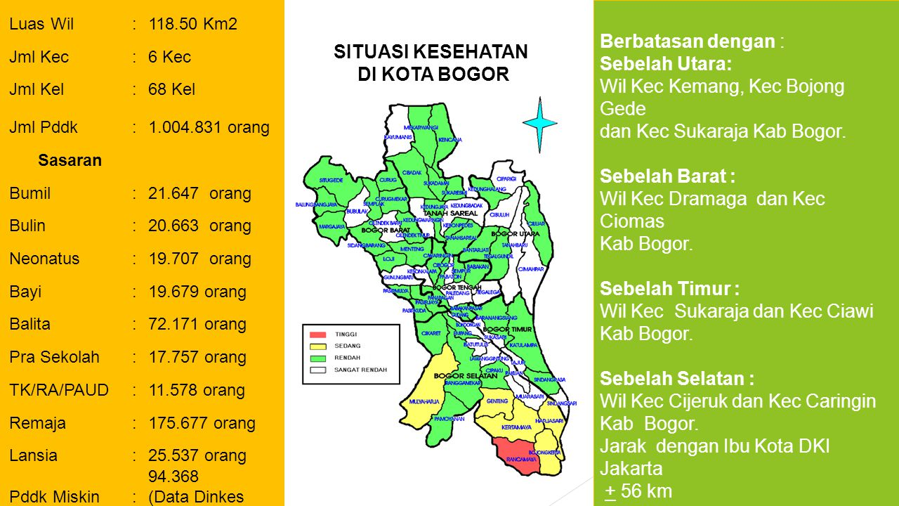 Berbatasan dengan : Sebelah Utara: Wil Kec Kemang, Kec Bojong Gede dan Kec Sukaraja Kab Bogor.