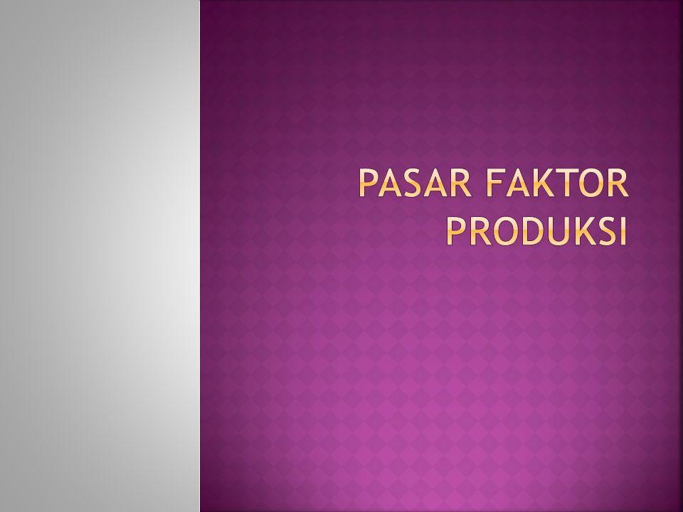  Faktor produksi adalah input yang digunakan dalam memproduksi barang dan jasa