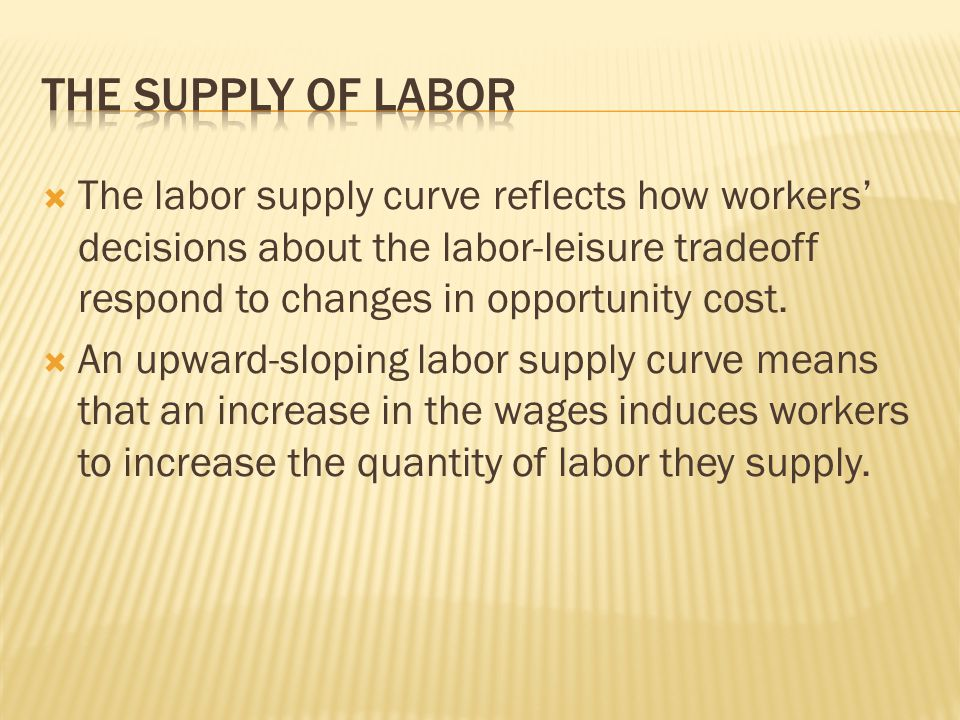  The labor supply curve reflects how workers' decisions about the labor-leisure tradeoff respond to changes in opportunity cost.