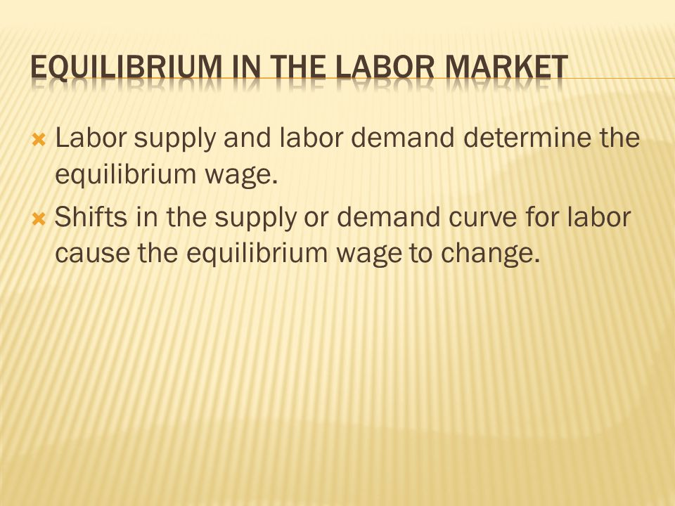  Labor supply and labor demand determine the equilibrium wage.  Shifts in the supply or demand curve for labor cause the equilibrium wage to change.
