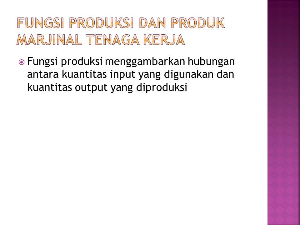  Fungsi produksi menggambarkan hubungan antara kuantitas input yang digunakan dan kuantitas output yang diproduksi