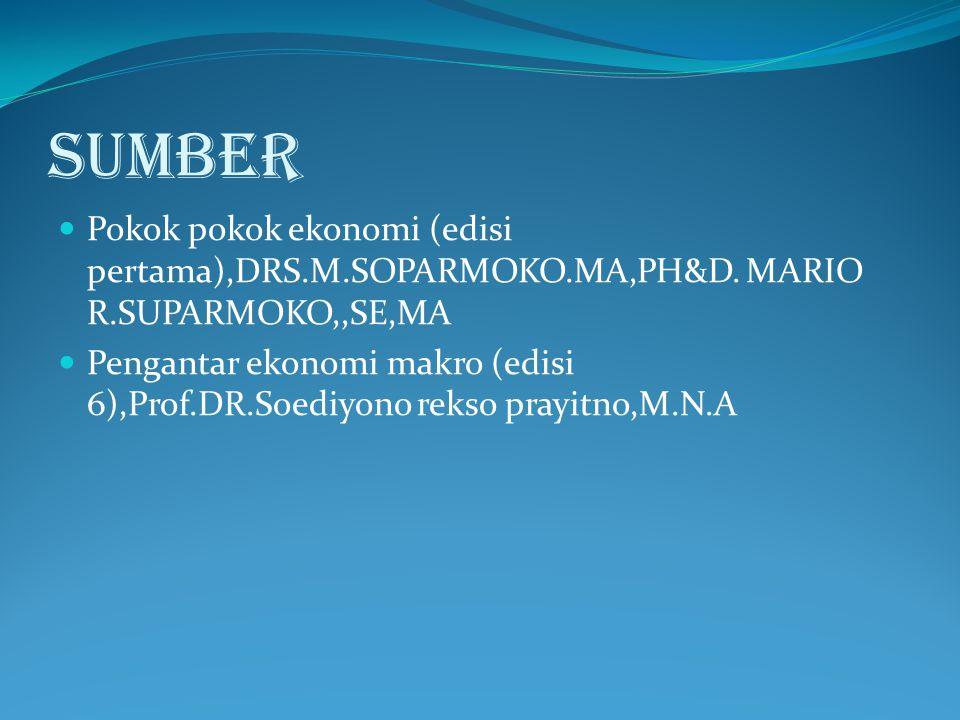 SUMBER Pokok pokok ekonomi (edisi pertama),DRS.M.SOPARMOKO.MA,PH&D. MARIO R.SUPARMOKO,,SE,MA Pengantar ekonomi makro (edisi 6),Prof.DR.Soediyono rekso