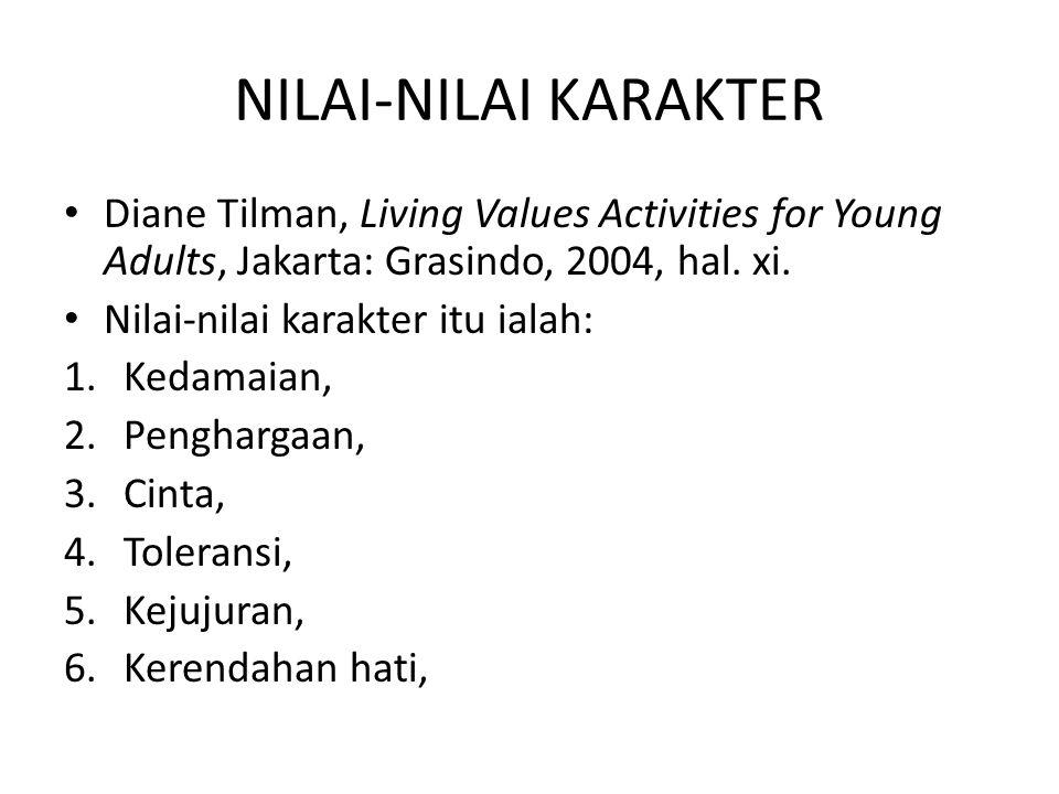 NILAI-NILAI KARAKTER Diane Tilman, Living Values Activities for Young Adults, Jakarta: Grasindo, 2004, hal. xi. Nilai-nilai karakter itu ialah: 1.Keda