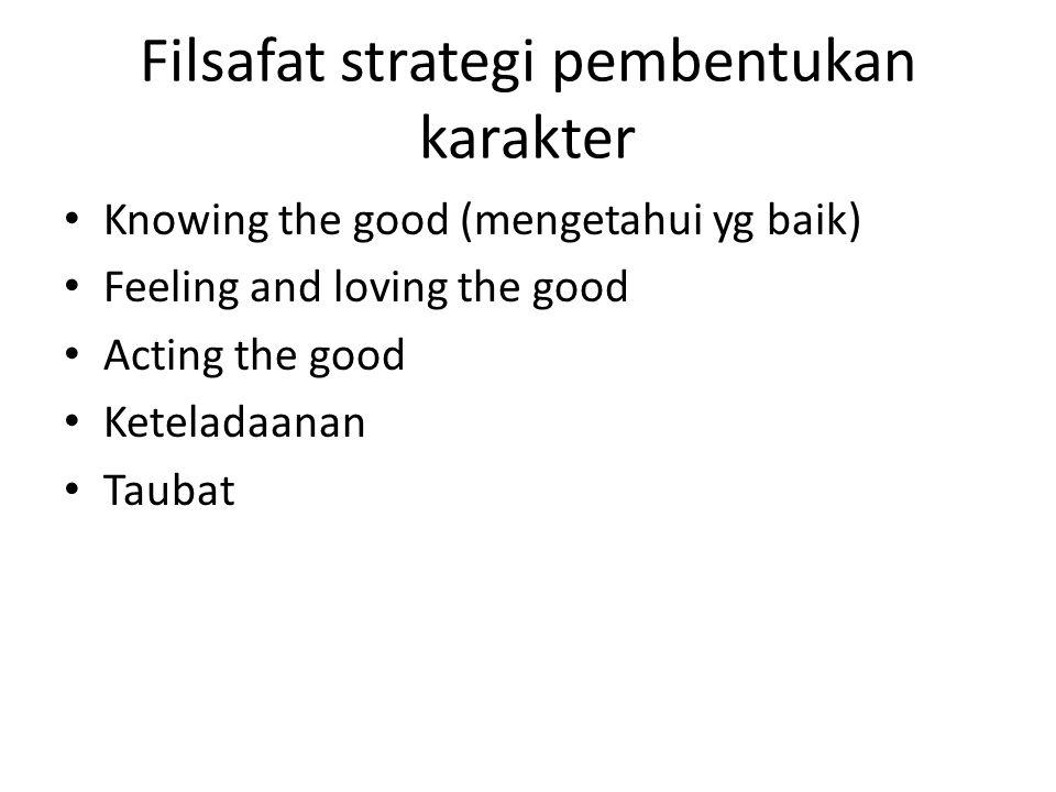 Filsafat strategi pembentukan karakter Knowing the good (mengetahui yg baik) Feeling and loving the good Acting the good Keteladaanan Taubat