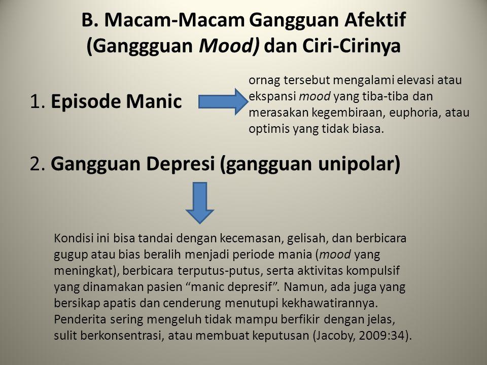 B. Macam-Macam Gangguan Afektif (Ganggguan Mood) dan Ciri-Cirinya 1. Episode Manic 2. Gangguan Depresi (gangguan unipolar) ornag tersebut mengalami el