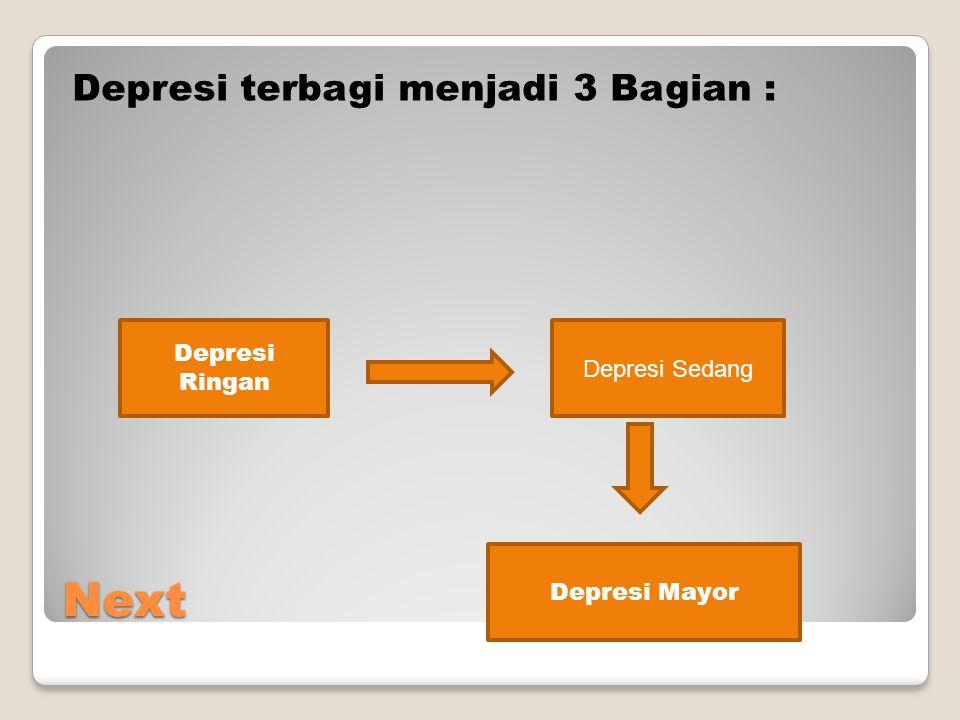 Next Depresi terbagi menjadi 3 Bagian : Depresi Ringan Depresi Sedang Depresi Mayor