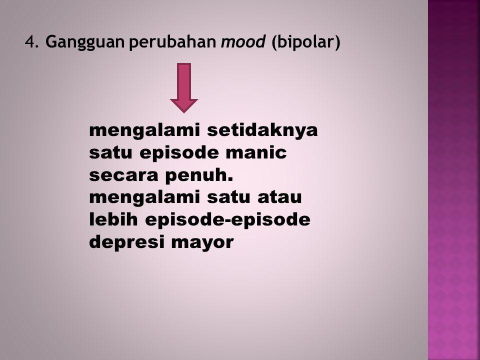 4. Gangguan perubahan mood (bipolar) mengalami setidaknya satu episode manic secara penuh. mengalami satu atau lebih episode-episode depresi mayor