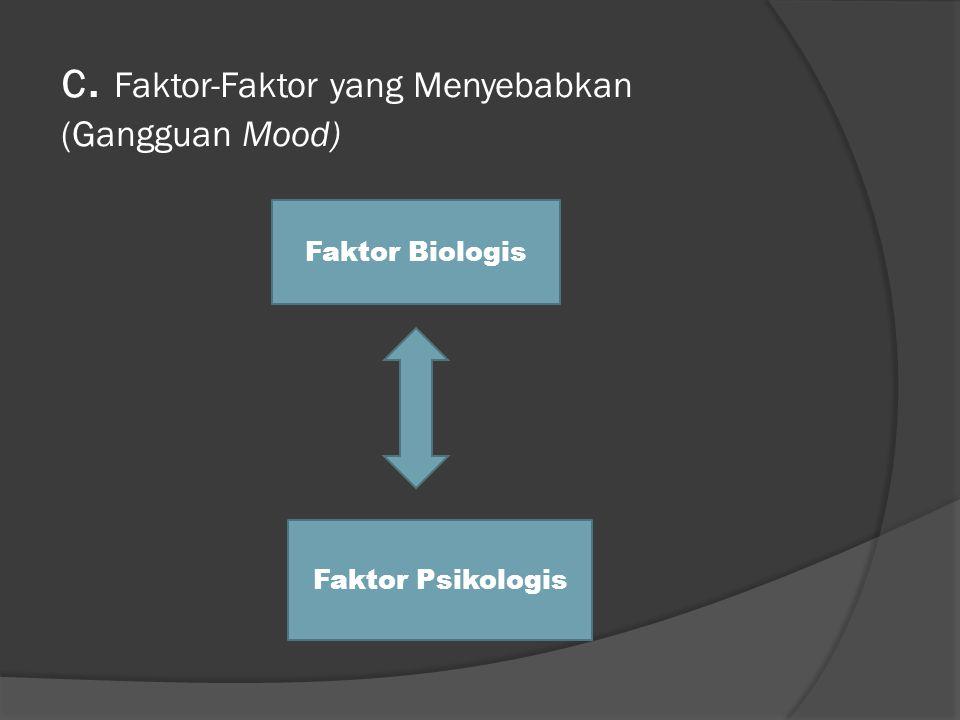 c. Faktor-Faktor yang Menyebabkan (Gangguan Mood) Faktor Biologis Faktor Psikologis