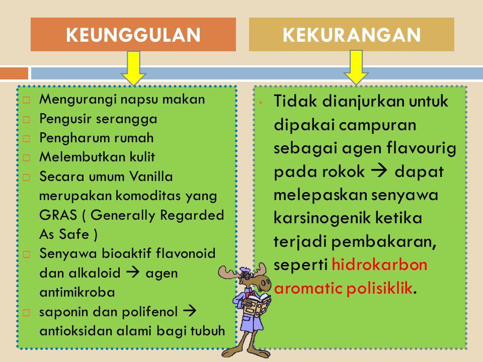  Mengurangi napsu makan  Pengusir serangga  Pengharum rumah  Melembutkan kulit  Secara umum Vanilla merupakan komoditas yang GRAS ( Generally Reg