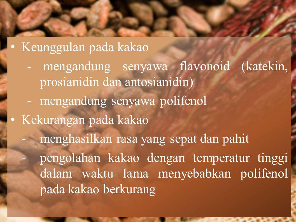 Keunggulan pada kakao - mengandung senyawa flavonoid (katekin, prosianidin dan antosianidin) -mengandung senyawa polifenol Kekurangan pada kakao -meng
