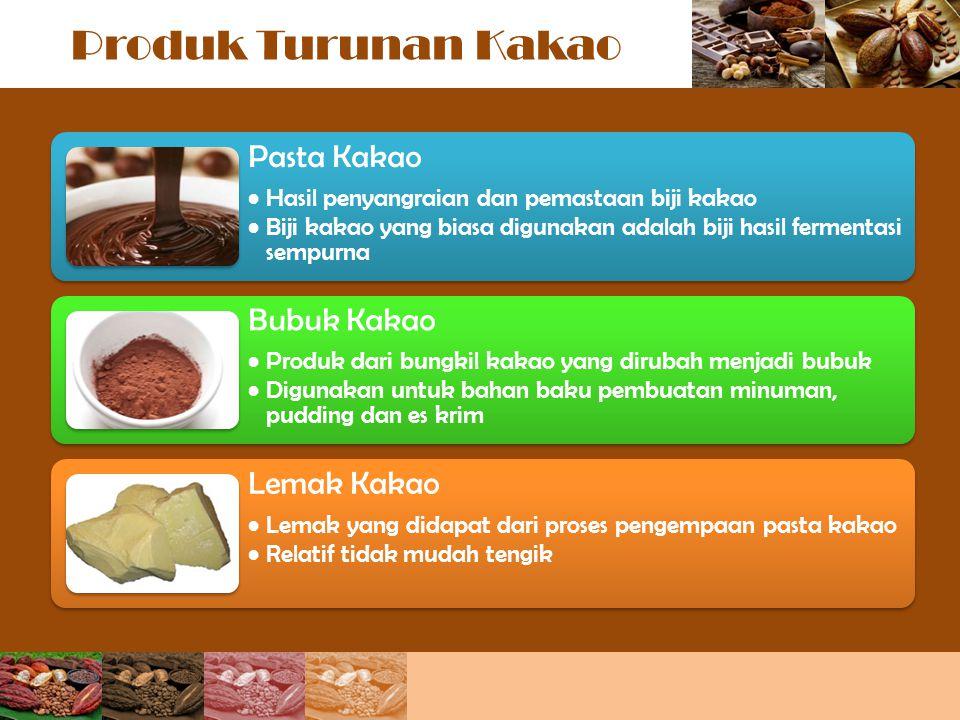 Produk Turunan Kakao Pasta Kakao Hasil penyangraian dan pemastaan biji kakao Biji kakao yang biasa digunakan adalah biji hasil fermentasi sempurna Bub