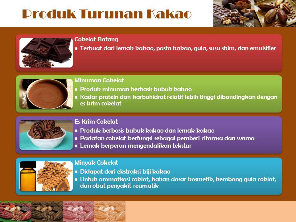 Produk Turunan Kakao Cokelat Batang Terbuat dari lemak kakao, pasta kakao, gula, susu skim, dan emulsifier Minuman Cokelat Produk minuman berbasis bub