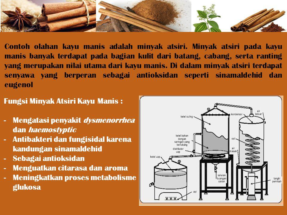 Contoh olahan kayu manis adalah minyak atsiri. Minyak atsiri pada kayu manis banyak terdapat pada bagian kulit dari batang, cabang, serta ranting yang