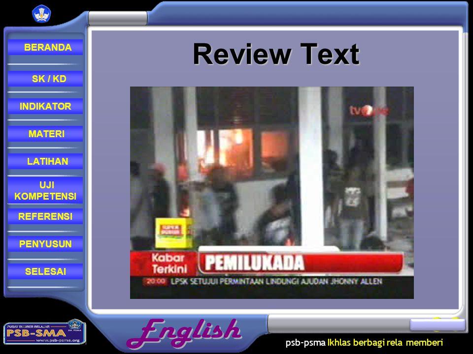 psb-psma Ikhlas berbagi rela memberi REFERENSI LATIHAN MATERI PENYUSUN INDIKATOR SK / KD UJI KOMPETENSI BERANDA SELESAI Review Text
