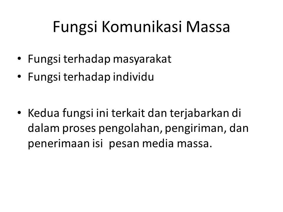 Fungsi Komunikasi Massa Fungsi terhadap masyarakat Fungsi terhadap individu Kedua fungsi ini terkait dan terjabarkan di dalam proses pengolahan, pengi