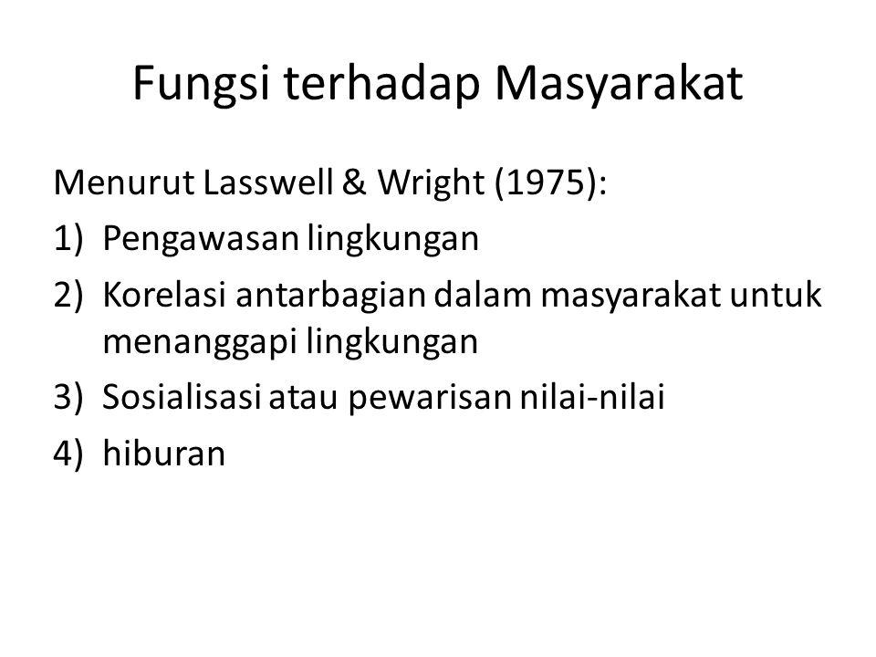 Fungsi terhadap Masyarakat Menurut Lasswell & Wright (1975): 1)Pengawasan lingkungan 2)Korelasi antarbagian dalam masyarakat untuk menanggapi lingkung